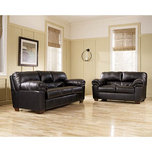"Signature Design ""Commando-Black"" Sofa and Loveseat"