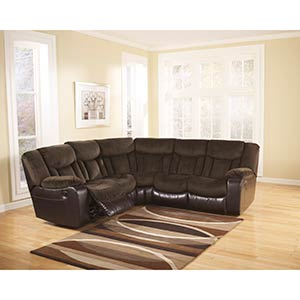 "Signature Design by Ashley ""Tafton-Java"" 2-Piece Reclining Sectional"
