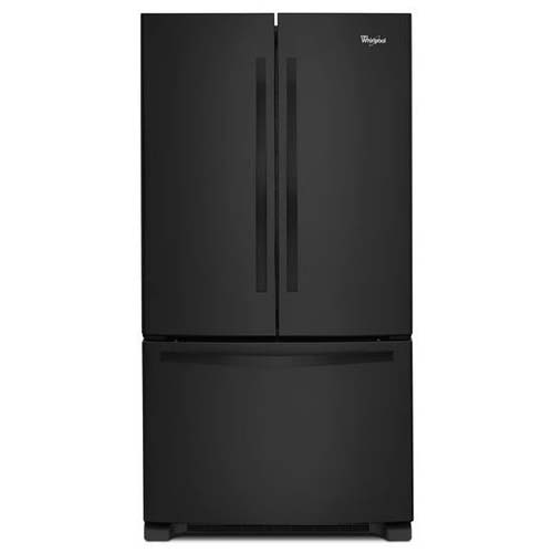 Whirlpool® 22 Cu. Ft. Bottom Mount Refrigerator with French Doors – Black