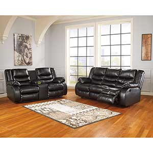 Signature Design by Ashley Linebacker-Black Reclining Sofa and Loveseat- Room View