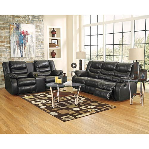 Rent ashley furniture 39 linebacker black 39 reclining sofa for Rent a room furniture