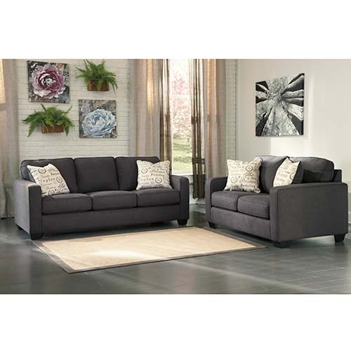 Signature Design by Ashley Alenya Charcoal Sofa and Loveseat  Room View Rent To Own Sofas Recliners Tables Lamps A Center
