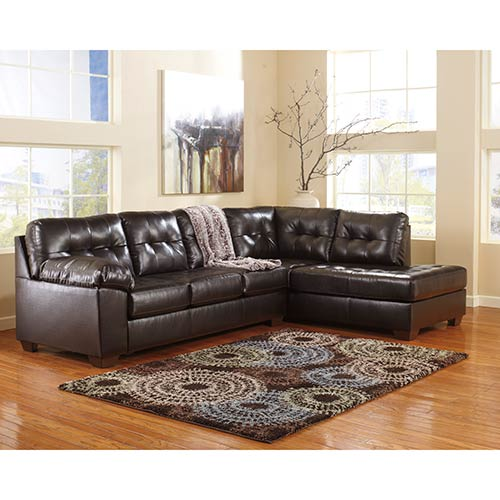 Signature Design By Ashley Alliston Durablend Chocolate 2 Piece Sectional Room View