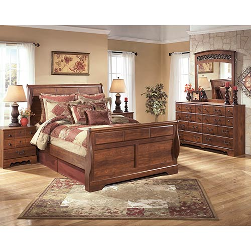 Rent an Ashley Timberline 7 Piece Queen Bedroom Set