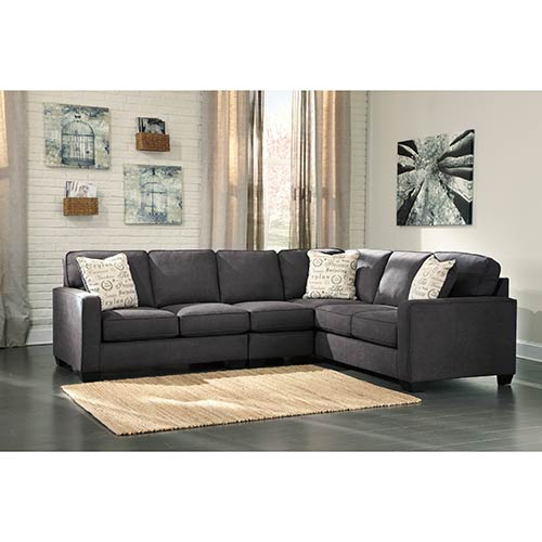 Rent To Own Ashley Alenya Charcoal 3 Piece Sectional