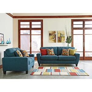 Signature Design By Ashley Sagen Teal Sofa And