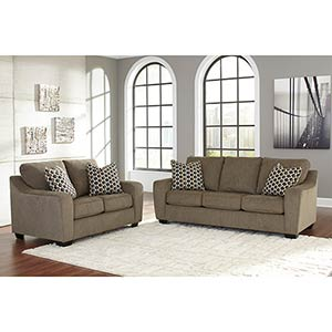 "Benchcraft ""Coppell Durablend®-Mocha"" Sofa and Loveseat"