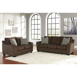 "Benchcraft ""Coppell Durablend®-Brown"" Sofa and Loveseat"