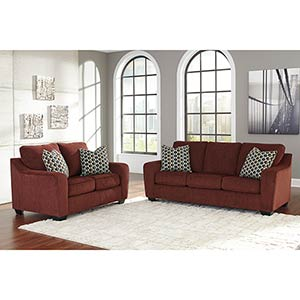 "Benchcraft ""Coppell Durablend®-Burgundy"" Sofa and Loveseat"