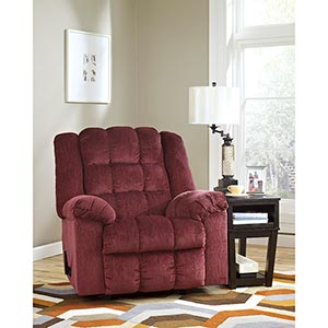 Signature Design by Ashley Ludden-Burgundy Rocker Recliner- Room View