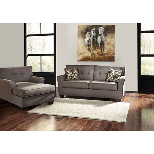 "Living Room Furniture Sales: Rent To Own Ashley ""Tibbee-Slate"" Sofa And Chaise"