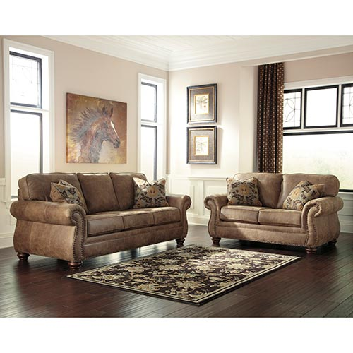 Rent to own ashley 39 larkinhurst earth 39 sofa loveseat for Rent a room furniture