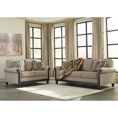 Signature Design by Ashley Blackwood-Taupe Sofa and Loveseat- Room View