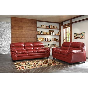 Signature Design by Ashley Tassler DuraBlend-Crimson Sofa and Loveseat- Room View