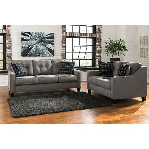 Benchcraft brindon charcoal sofa and loveseat - Rent to own living room furniture ...