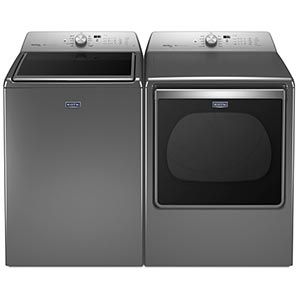 Maytag Metallic Slate 5.3 Cu. Ft. Top-Load Washer and 8.8 Cu. Ft. Front Load Electric Dryer