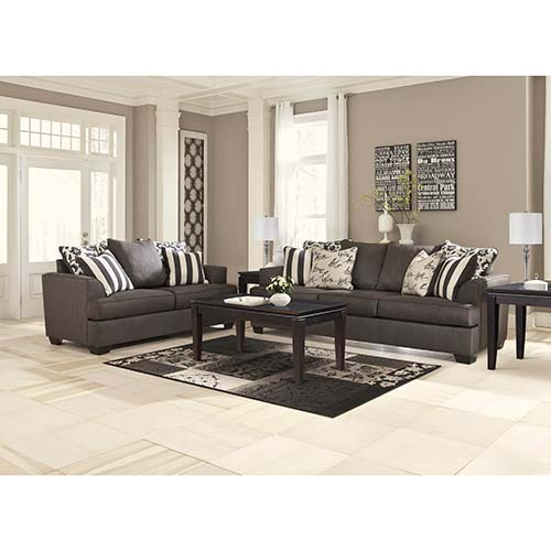 Signature Design by Ashley Levon-Charcoal 7-Piece Living Set- Room View
