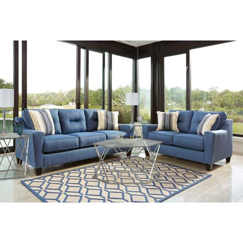 Rent ashley 39 forsan nuvella blue 39 7 piece living room set for 7 piece living room set