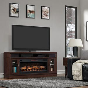 ClassicFlame Deerfield Electric Fireplace TV Stand with Bluetooth Speakers- Room View