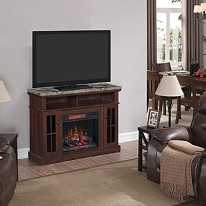 ClassicFlame Granite Electric Fireplace TV Stand- Room View