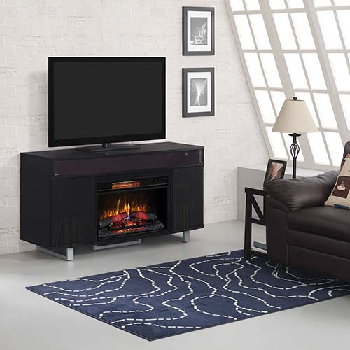 black living room table sets. ClassicFlame Enterprise Electric Fireplace TV Stand with Soundbar Rent To Own Furniture  Rental A Center