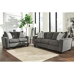 Deal Signature Design By Ashley Twombley Gray Sofa And Loveseat Room View
