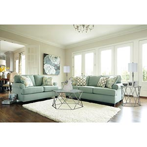 Signature Design by Ashley Daystar-Seafoam Sofa and Loveseat Room View