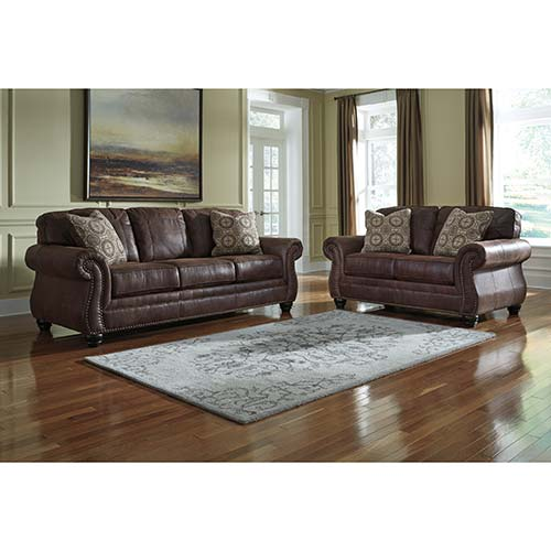 Benchcraft Breville-Espresso Sofa and Loveseat Room View