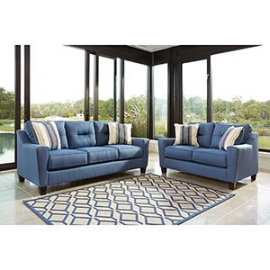 Benchcraft Forsan Nuvella-Blue Sofa and Loveseat- Room View