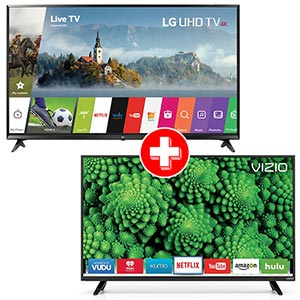 LG 49 inch 4K UHD LED Smart TV + VIZIO 40 inch LED Smart TV