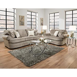 Simmons Beautyrest Kingsley-Pewter Sofa and Chair- Room View