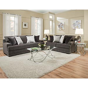 Simmons Beautyrest Glamorous-Charcoal Sofa and Loveseat- Room View