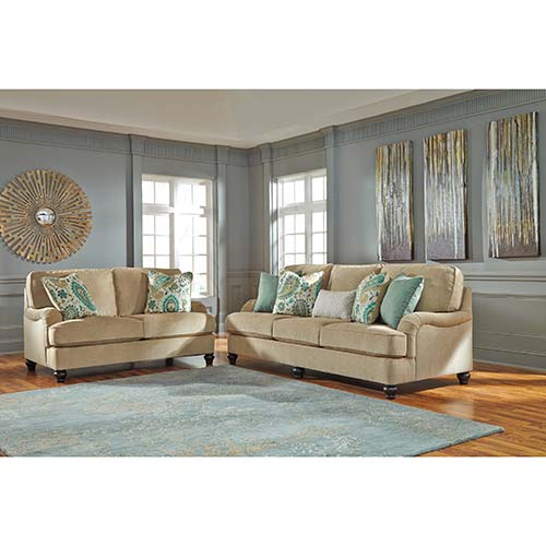 Benchcraft Lochian-Bisque Sofa and Loveseat- Room View