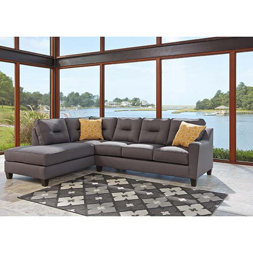 Benchcraft Kirwin Nuvella-Gray Sectional- Room View