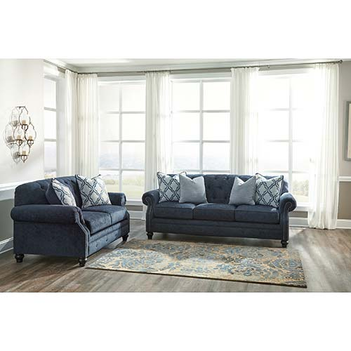 Rent Benchcraft Lavernia Navy Sofa And Loveseat