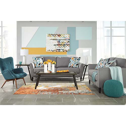Benchcraft Pelsor-Gray Sofa and Loveseat with Accent Chair- Room View