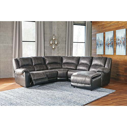 Ashley Nantahala Slate 5 Piece Sectional With Chaise For