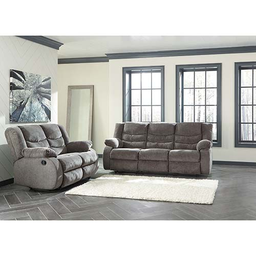 Signature Design By Ashley Tulen Gray Reclining Sofa And Loveseat Room View