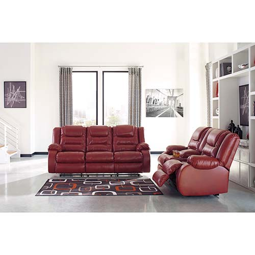 Signature Design by Ashley Vacherie-Salsa Reclining Sofa and Loveseat- Room View