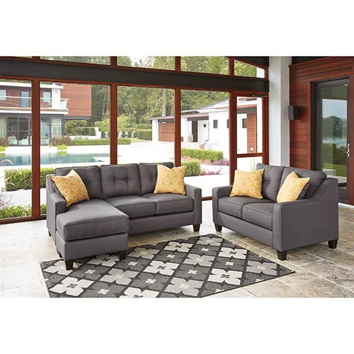 rent to own benchcraft aldie nuvella gray sofa chaise and loveseat