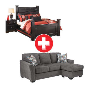 Brise-Slate Sofa Chaise and Shay 3-Piece Queen Bedroom Bundle