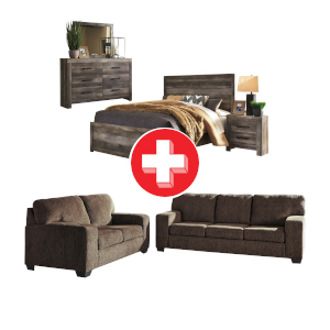 Termoli-Chocolate Sofa and Loveseat and Wynnlow Queen Bedroom Bundle