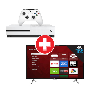 TCL ROKU 55 inch Smart TV and Microsoft Xbox One S 1TB Console Bundle