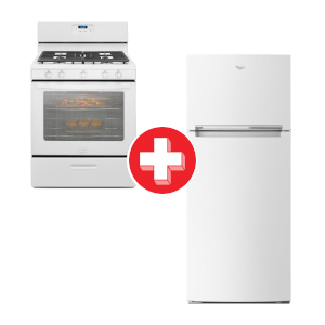 Whirlpool 18 Cu. Ft. Refrigerator and 5.1 Cu. Ft. Gas Range Bundle