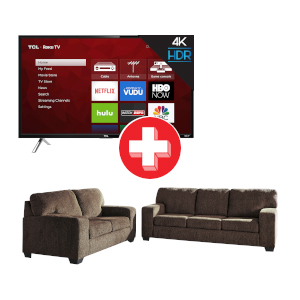 Termoli-Chocolate Sofa and Loveseat and TCL ROKU 55 inch Smart TV