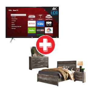 Wynnlow Queen Bedroom Set and TCL ROKU 55 inch Smart TV