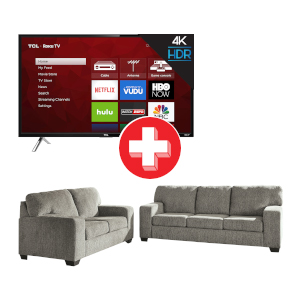 Termoli-Granite Sofa and Loveseat and TCL ROKU 55 inch Smart TV Bundle