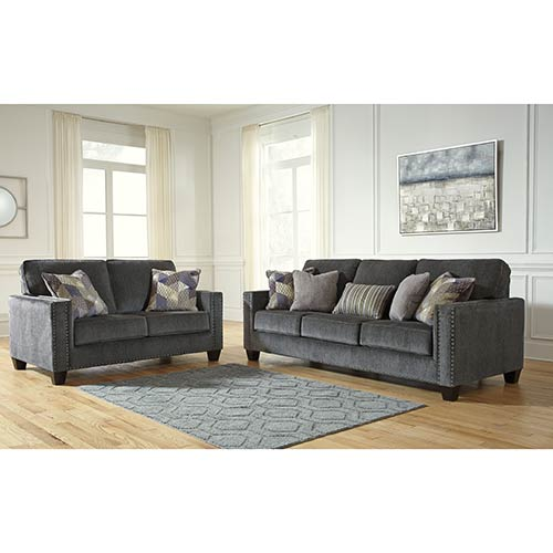 Benchcraft Gavril-Smoke Sofa and Loveseat- Room View
