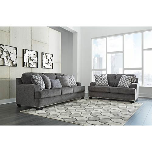 Benchcraft Locklin-Carbon Sofa and Loveseat- Room View