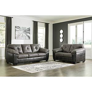 Signature Design by Ashley Gregale-Slate Sofa and Loveseat- Room View
